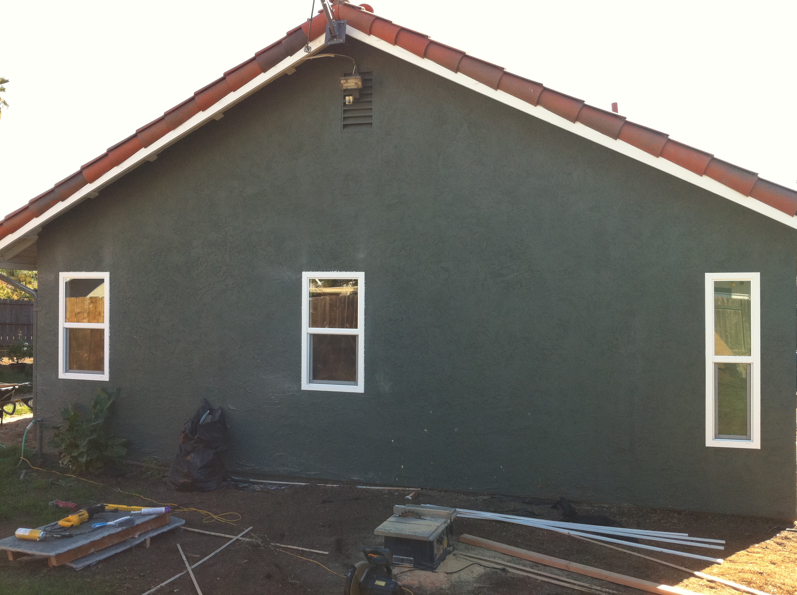 after the cut in, outside view, no stucco damage
