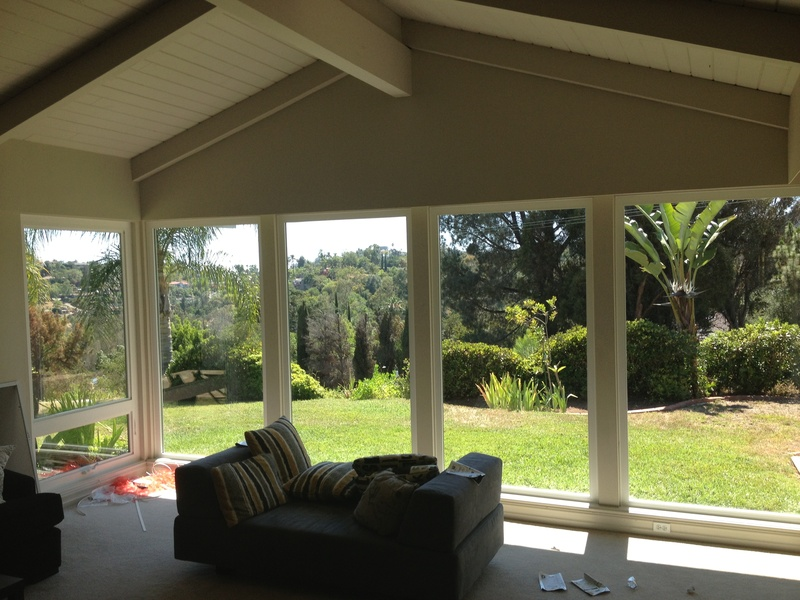 large tempered picture windows with one awning window interior