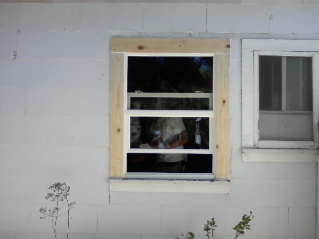 replaced old rotted wood trim around window