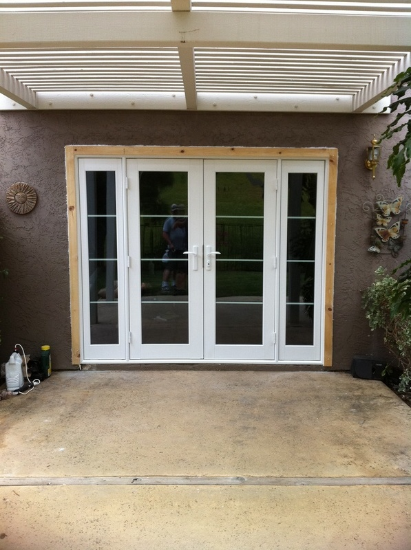 milgard french swing door with side lights