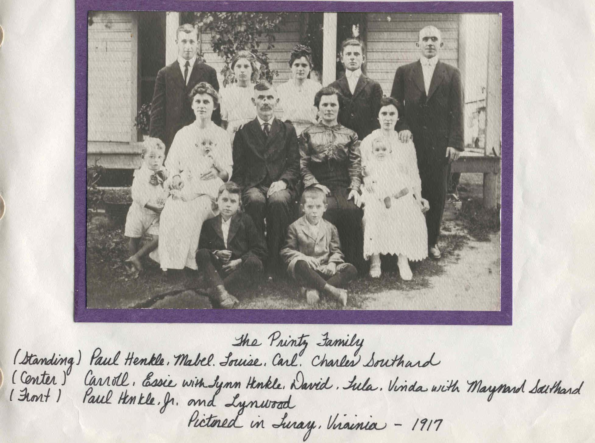 David Printz Family taken around 1917