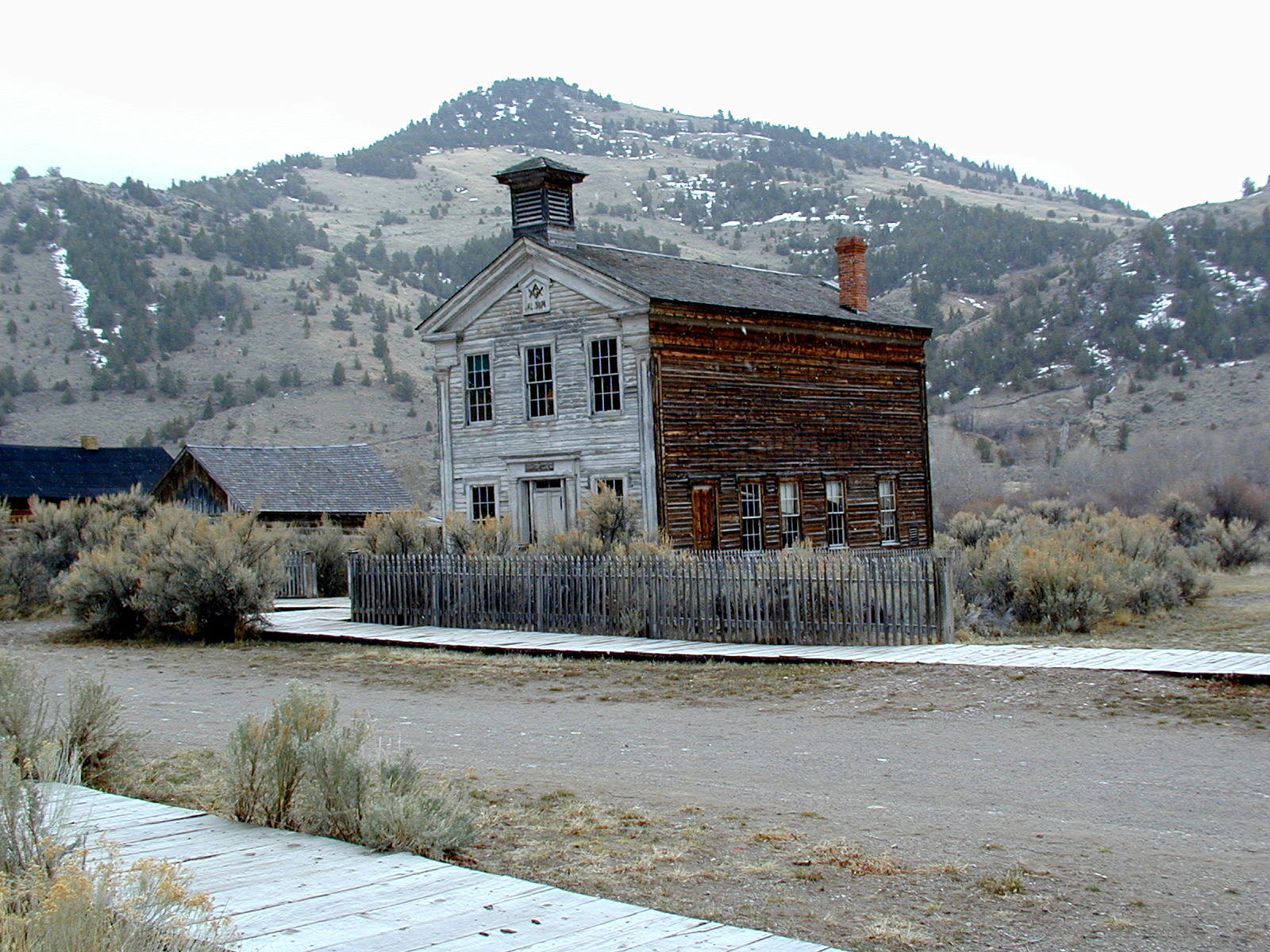 Bannack Masonic Temple in light snow.