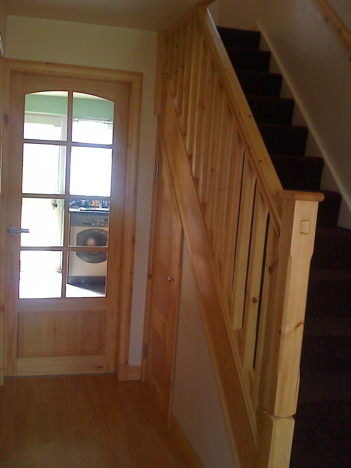 Pine banister and pine glass panelled wickes doors a one for Door viewer wickes