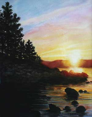 Tahoe Sunset (watercolor)
