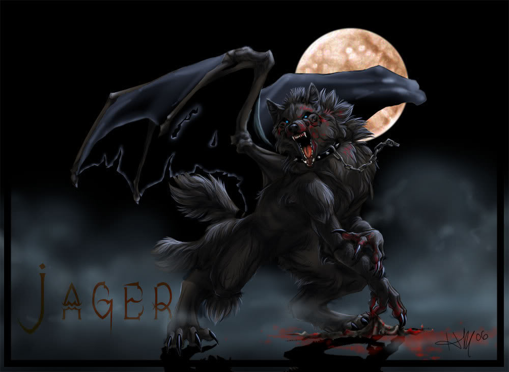 Evil black winged wolf - photo#5