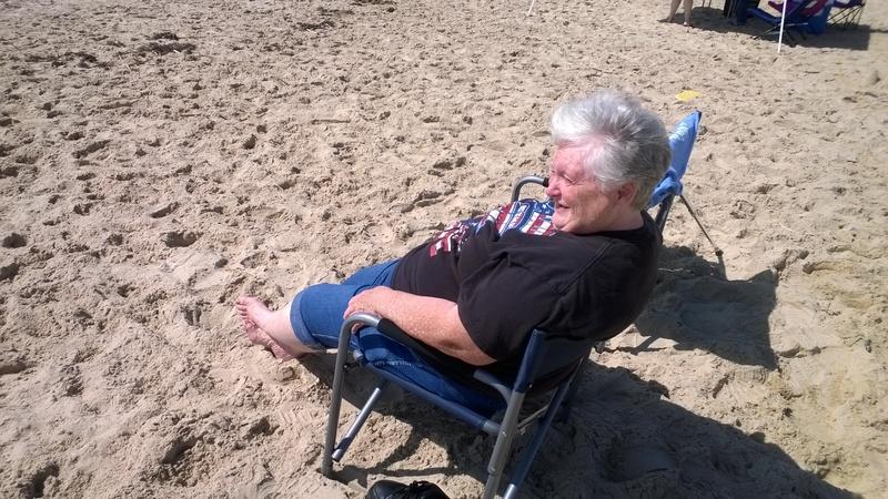 chrissy chillin on beach
