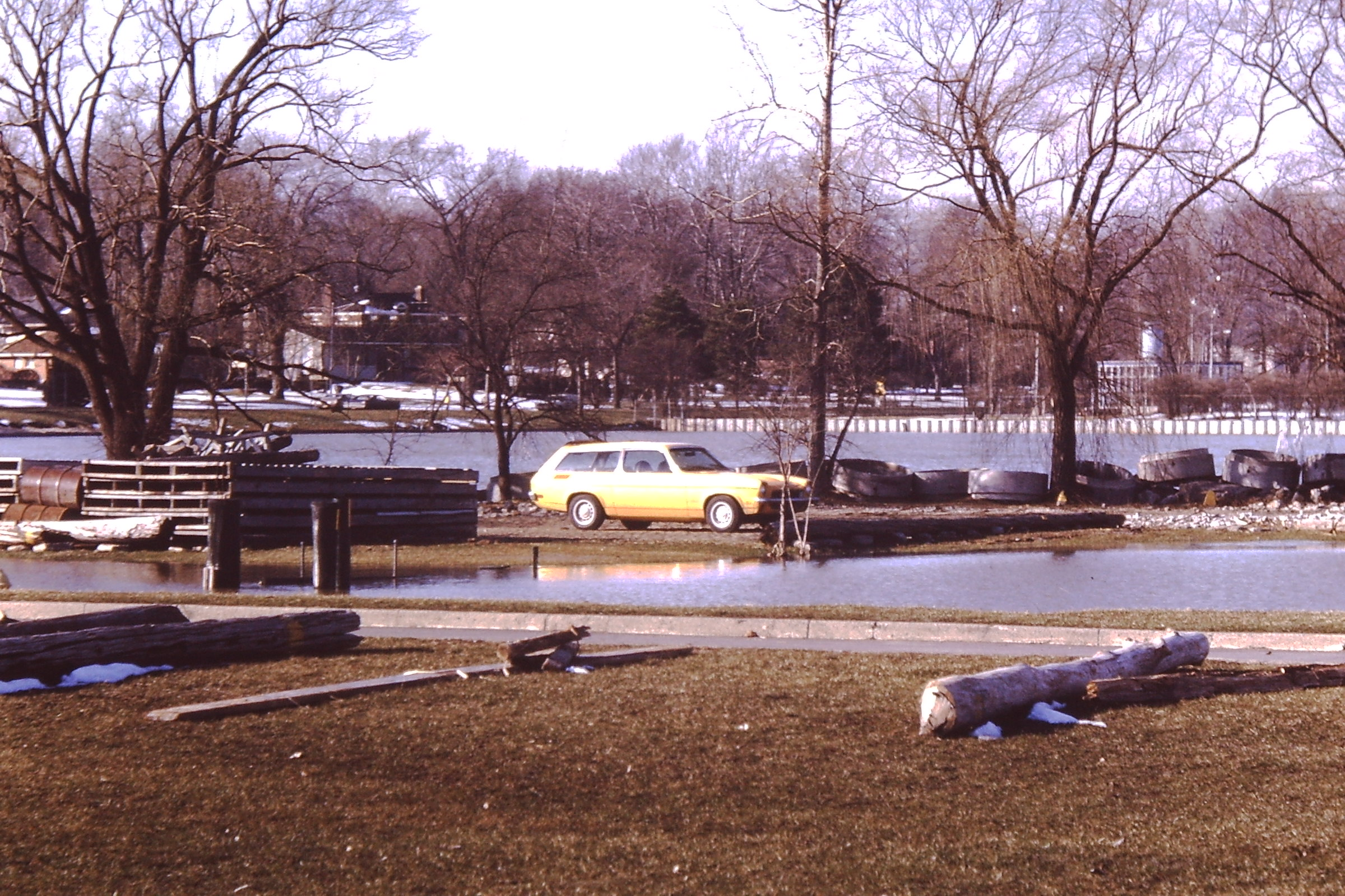 Jim Rusnack's 1973 Chevy Vega near flood