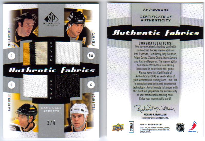 2010-11 SP Game Used Authentic Fabrics Seven AF7-BOSGR8 /Oates/Bergeron/Bourque/Esposito/Savard/Neely [2/6] front