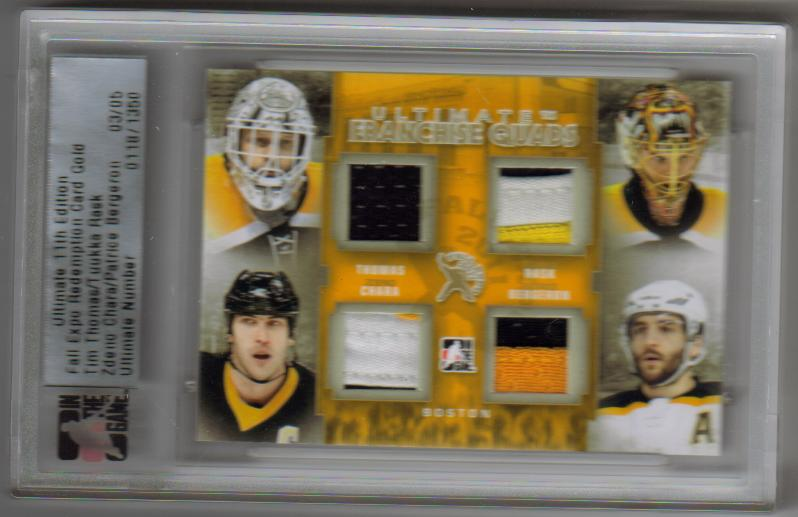 2011-12 ITG Ultimate Franchise Quads Gold Fall Expo Redemption FE-04 /Thomas/Rask/Bergeron [03/05]
