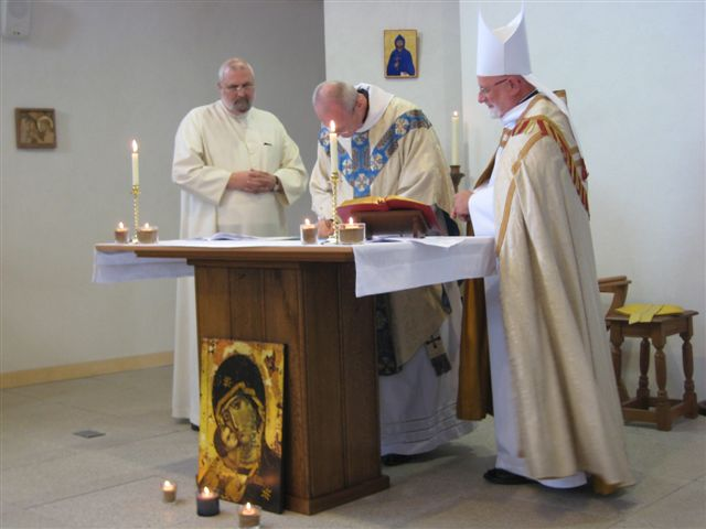 Bishop Mark (our Episcopal Visitor) countersigns Br Geoff's Charter of Profession
