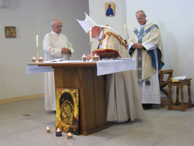 The Abbot countersigns Br Philip's Charter of Profession