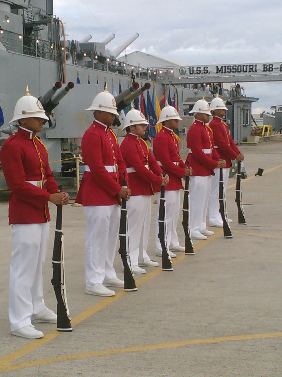 061515 USS Missouri Sentry Duty