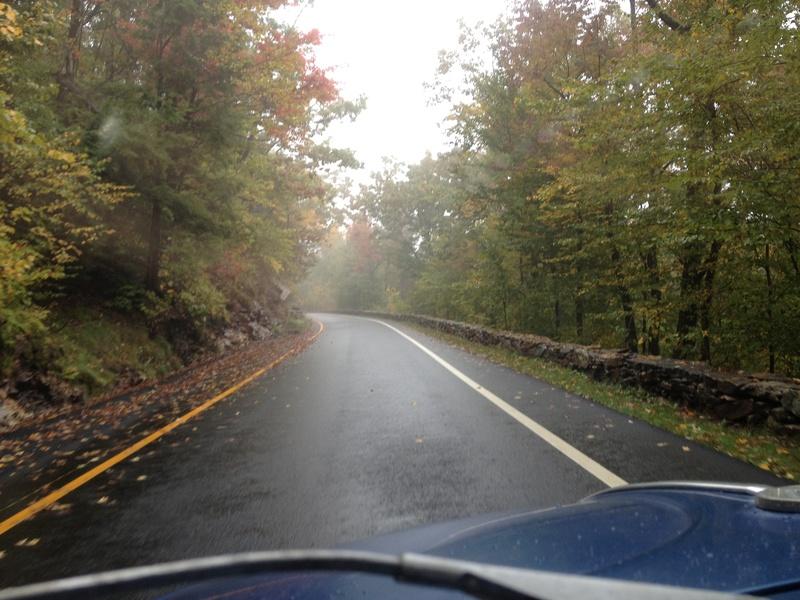 drive up Mt. Wachusett in the rain