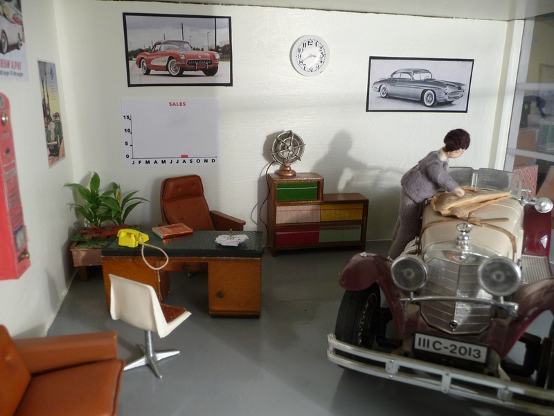 Posters on walls in showroom.
