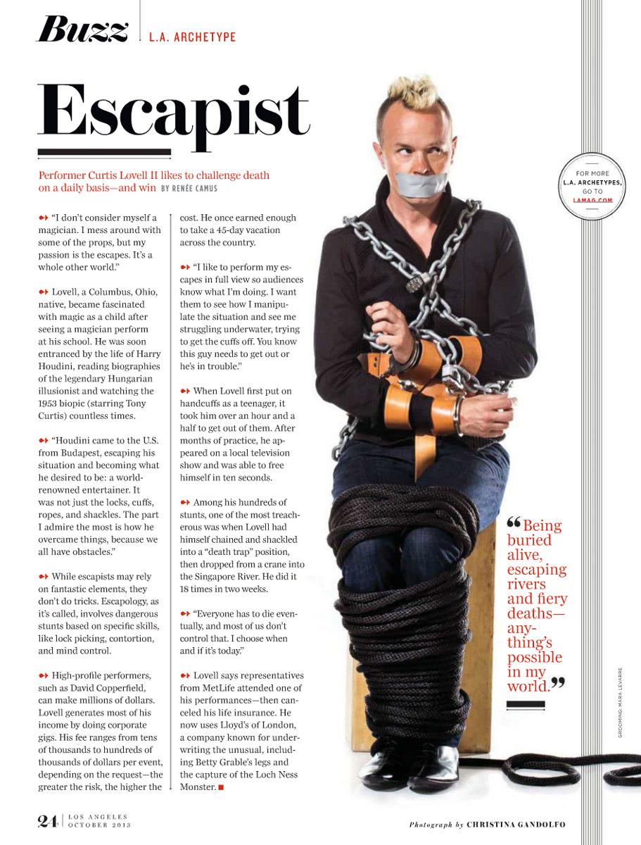 Los angeles Escape artist Curtis Lovell II