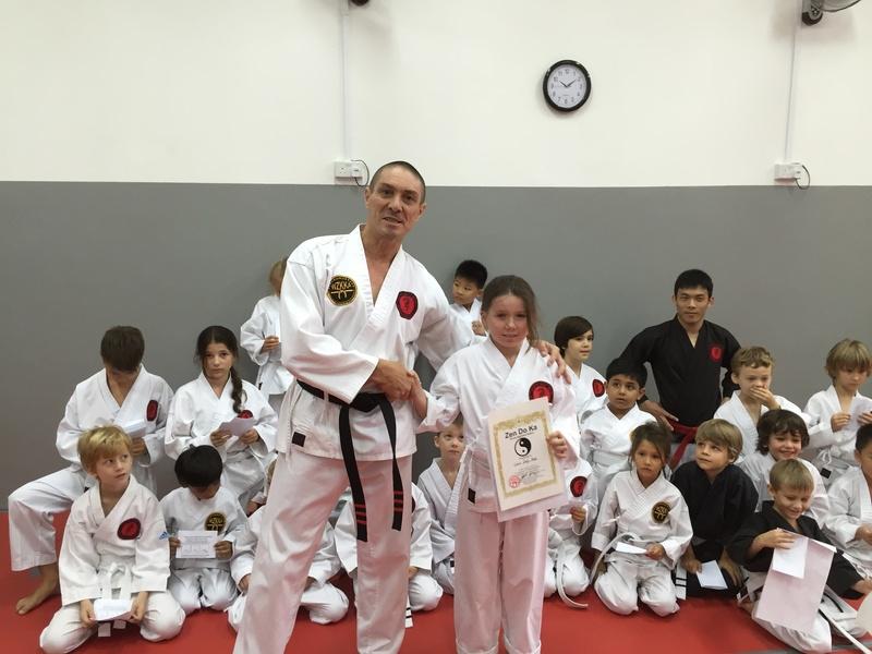 Coco encouragement award winner at ZDK Karate Kids grading