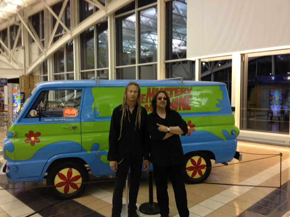 Dan and Keith, hanging with the Mystery Inc. van!