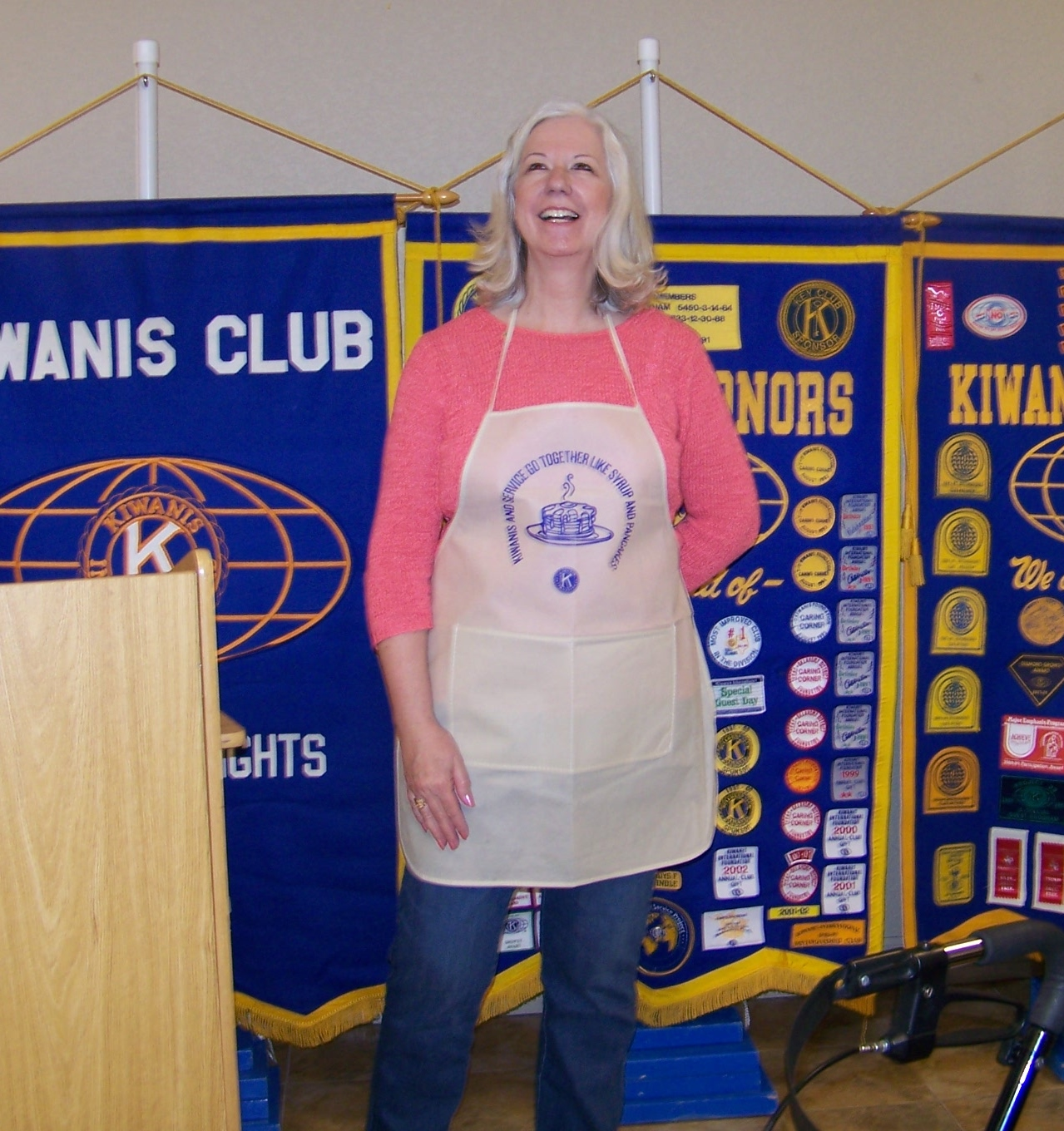 Jody Nicholas is awarded the official Pancake Supper Apron
