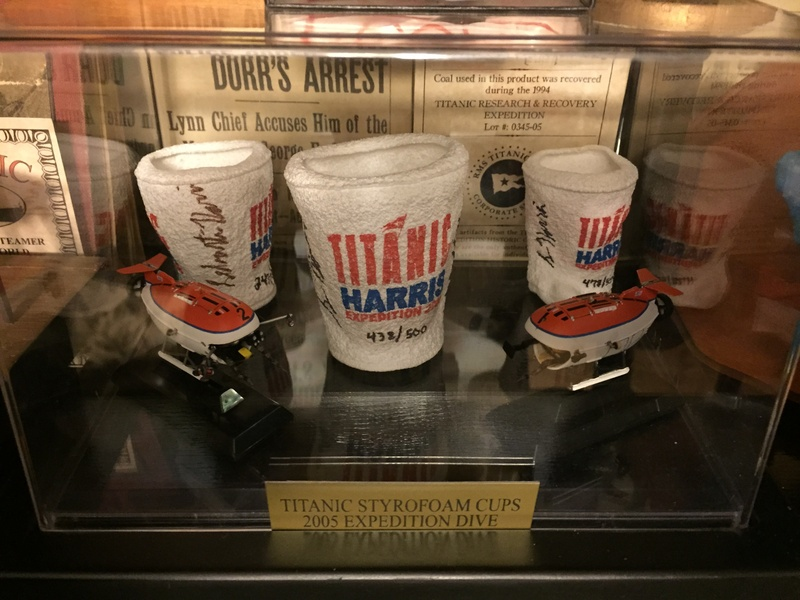 Signed cups from the 2005 Harris Expedition Dive to Titanic