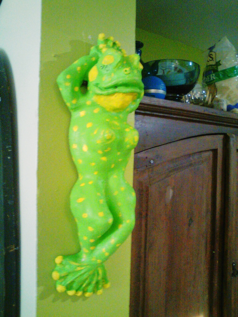 hanging frog $75. hand painted Liquid Marble