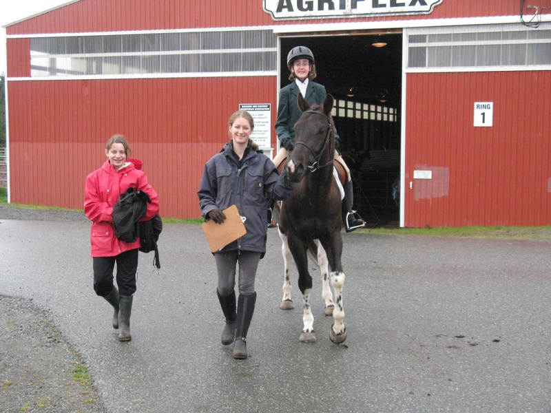 Josephine & Adriana take Chip out to the dressage show.