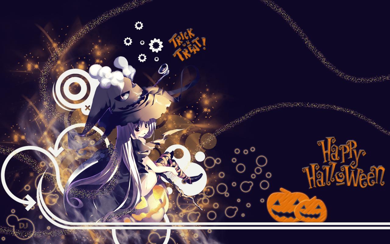 Halloween Anime Girl Background