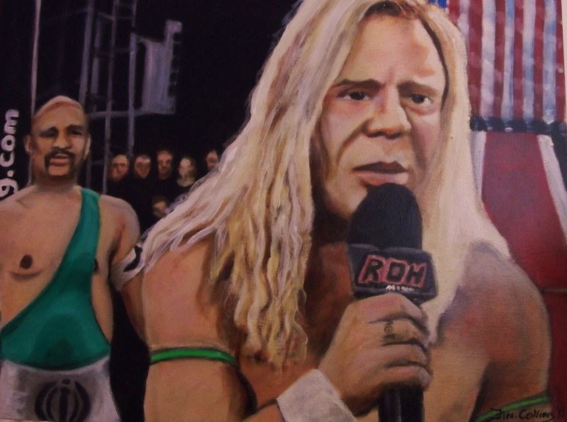 """Mickey Rourke"", as ""The Wrestler"", ""Actor"", ""Wrestler"","", ""Stunt Man"", Acrylic on canvas by Fin Collins, part of The Film Icons Collection www.filmiconsgallery.com"