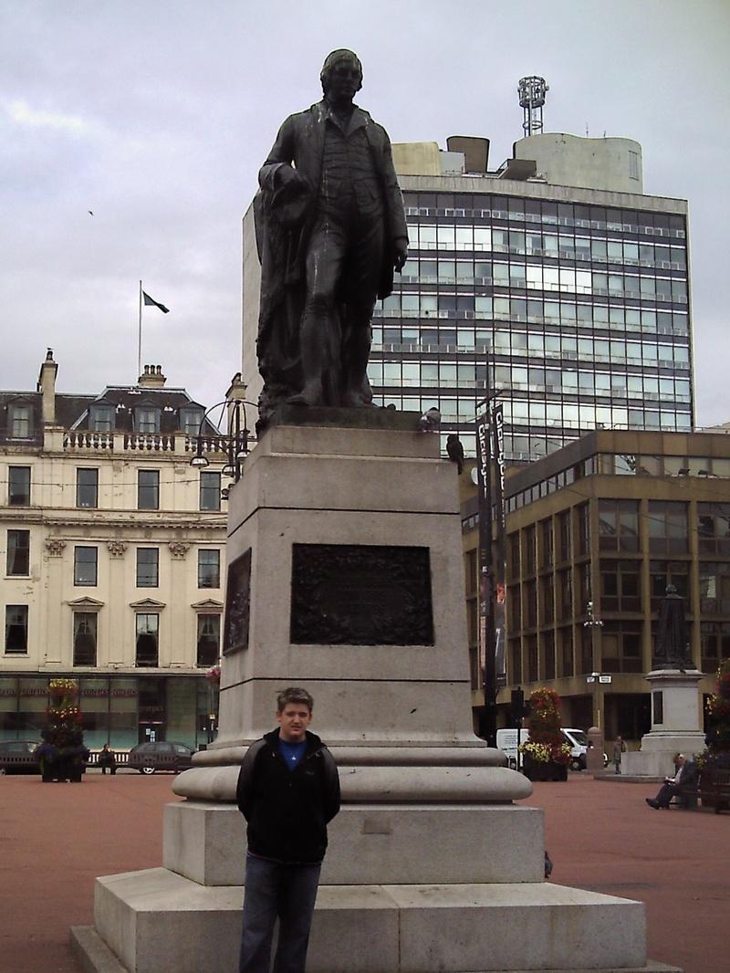 Nicholas at Burns Statue in Glasgow