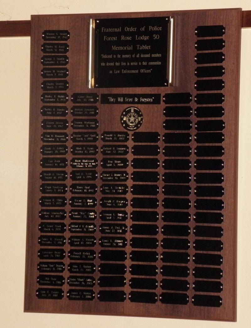 FOP Lodge 50 Memorial Tablet