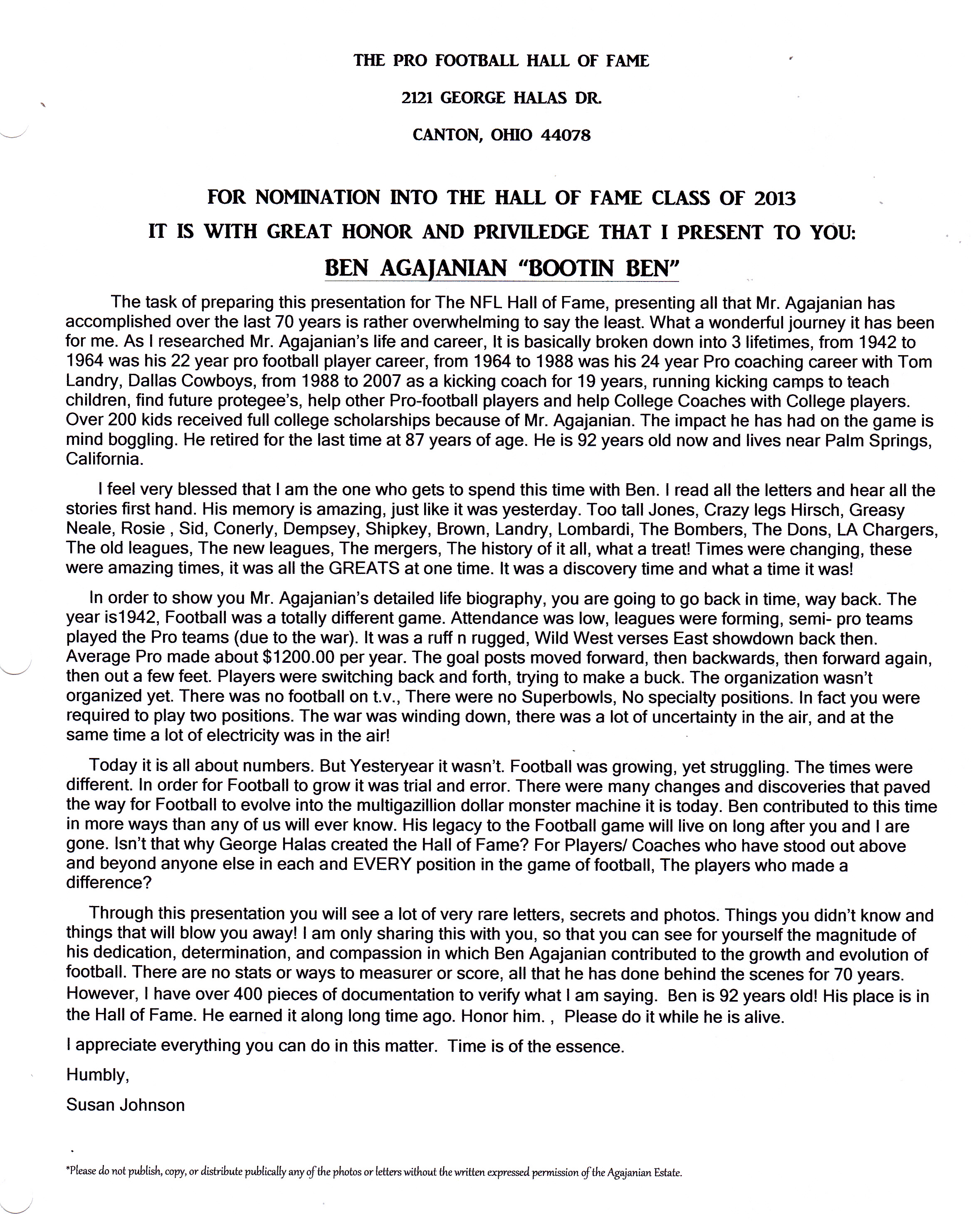 My letter to the HALL of Fame