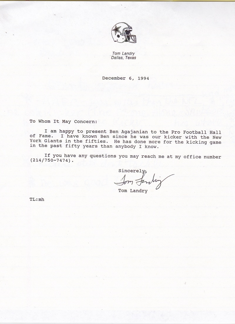 Last but not least- a word from Mr. Tom Landry