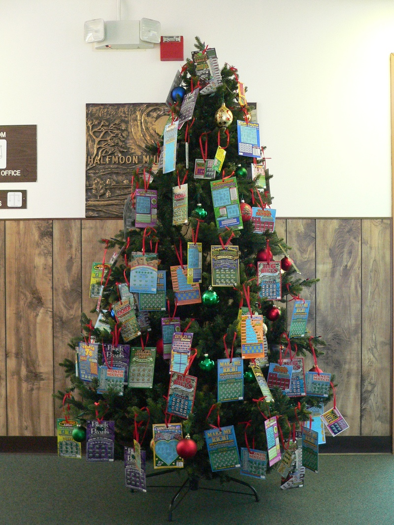 Christmas Tree decorated with lottery tickets