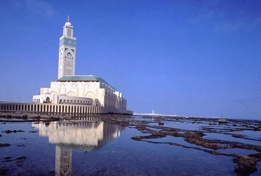 Hassan II Mosque Surrounded by the Atlantic Ocean, Casablanca