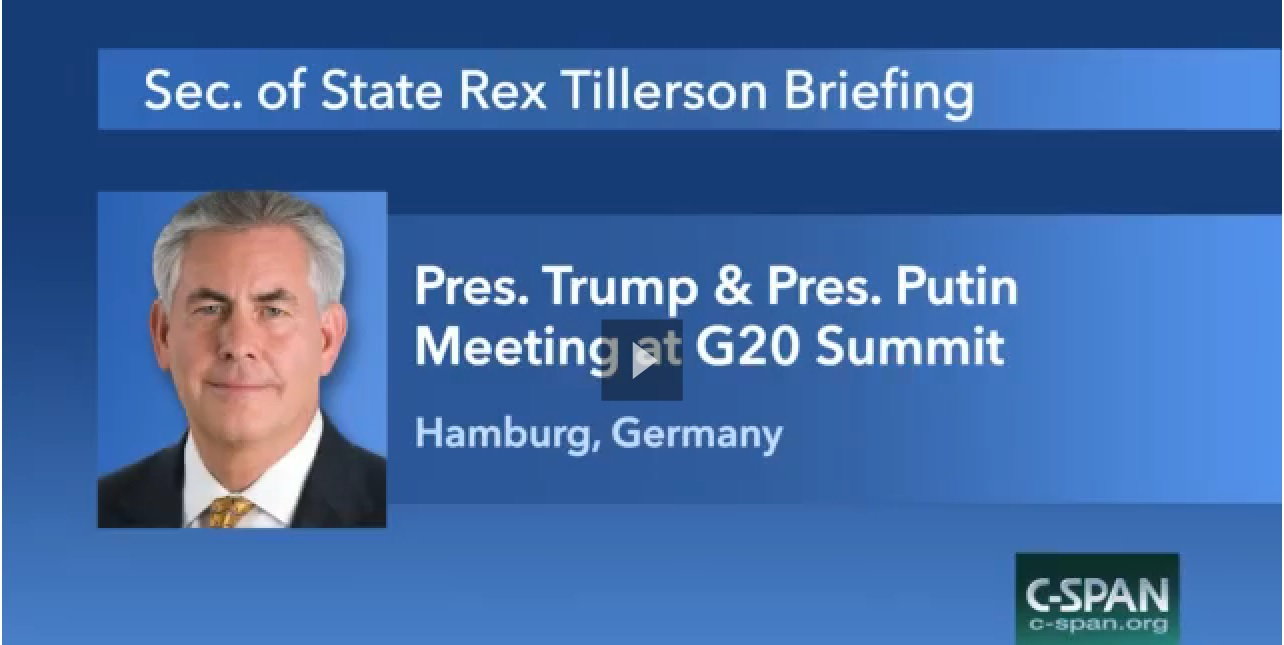 Secretary of State Tillerson Briefs Reporters Following Meeting Between President Trump and Russian President