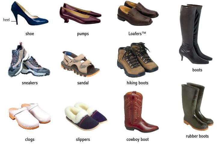 All Types of Shoes Names