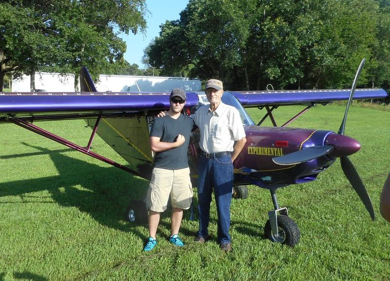 Logan Welch and Jim Davis. Before flight.