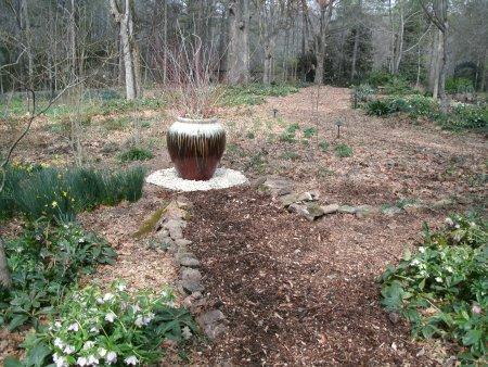 pot in shade garden